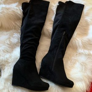 Chinese laundry suede over the knee wedge boot 7